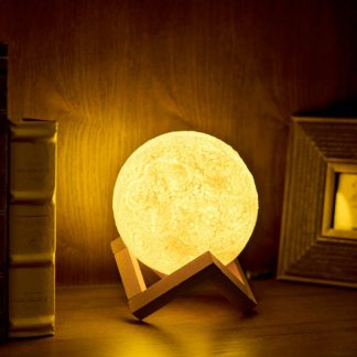 USB Charging 3D Printing Moon Lamp Nightlight 2 Color Change Touch Sensor Night Light Home Decoration Lamp with Wood Holder