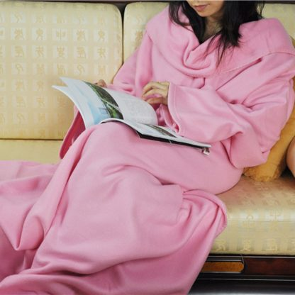 Super Large Soft Blanket With Sleeves Tight Wrap Warm Blanket Fleece Snuggie Robe Cloak for Traveling/Watching TV 180x130cm
