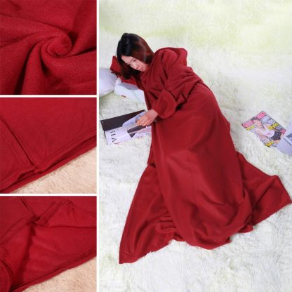 Super Large Soft Blanket With Sleeves Tight Wrap Warm Blanket Fleece Snuggie Robe Cloak for Traveling/Watching TV 180x130cm 3