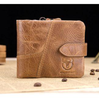 BULL CAPTAIN Vintage Leather Trifold Wallet Men Short Hasp Wallet CASUAL MALE Zipper Wallets Card Holder Money BAG Coin Purse