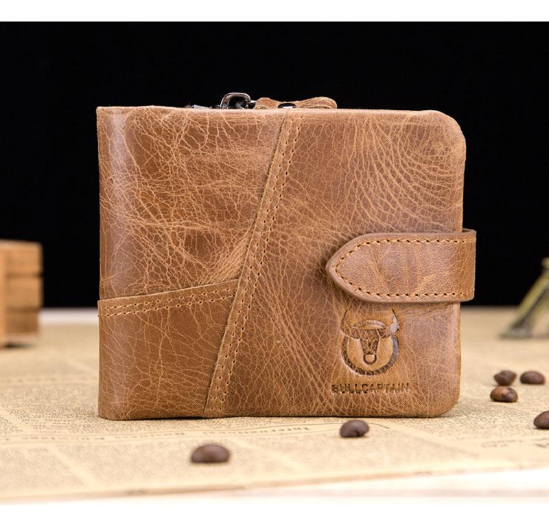 BULL CAPTAIN Vintage Leather Trifold Wallet Men Short Hasp Wallet CASUAL MALE Zipper Wallets Card Holder