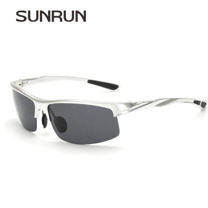 SUNRUN Men Driving Sunglasses Aluminum Frame Polarized Sunglasses Car Drivers Night Vision Goggles Anti-glare Sun Glasses P8213 2