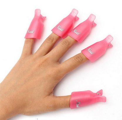 10pcs Wearable Acrylic Nail Polish Removers Soak Soakers Cap Art UV Gel Tool