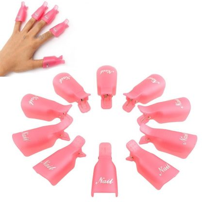 10pcs Wearable Acrylic Nail Polish Removers Soak Soakers Cap Art UV Gel Tool 1