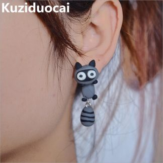 New Hot ! Fashion Fine Excellent Jewelry Soft Ceramic Cute Little Animal Raccoon Stud Earrings For Women And Girl Gifts E-4