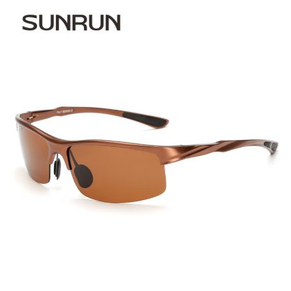 SUNRUN Men Driving Sunglasses Aluminum Frame Polarized Sunglasses Car Drivers Night Vision Goggles Anti-glare Sun Glasses P8213 3