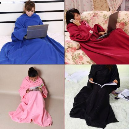 Super Large Soft Blanket With Sleeves Tight Wrap Warm Blanket Fleece Snuggie Robe Cloak for Traveling/Watching TV 180x130cm 2
